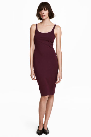 Sleeveless jersey dress - Plum - Ladies | H&M CA
