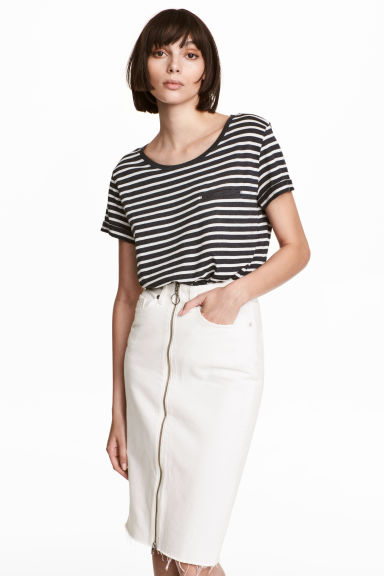 Striped jersey top - Dark grey/Grey marl - Ladies | H&M CN 1