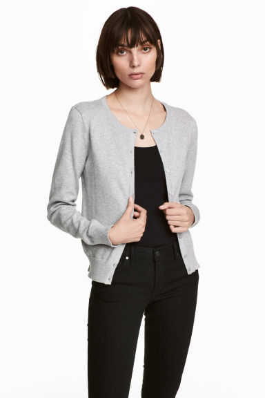 Cotton cardigan - Grey marl - Ladies | H&M CN 1