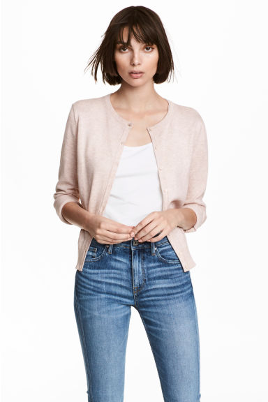 棉質開襟衫 - Powder pink marl - Ladies | H&M