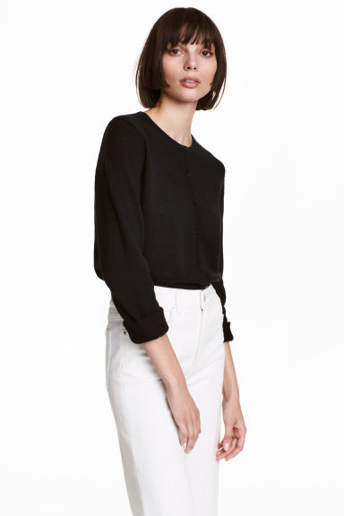 Cotton cardigan - Black - Ladies | H&M