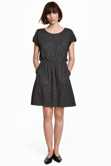 Short-sleeved jersey dress - Dark grey marl - Ladies | H&M CA