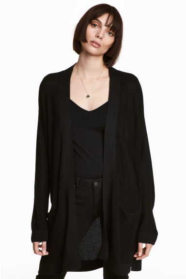 Ribbed cardigan - Black - Ladies | H&M CN
