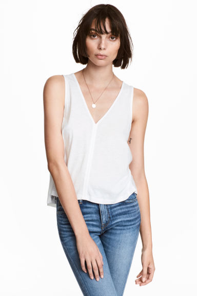 Modal-blend vest top - White - Ladies | H&M CN