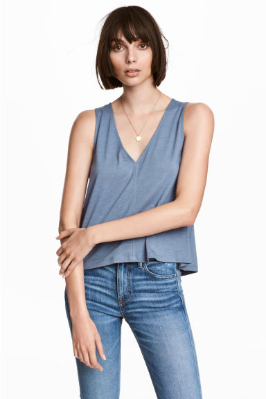 Modal-blend vest top - Blue marl - Ladies | H&M