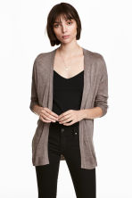 Fine-knit cardigan - Dark beige marl - Ladies | H&M 1
