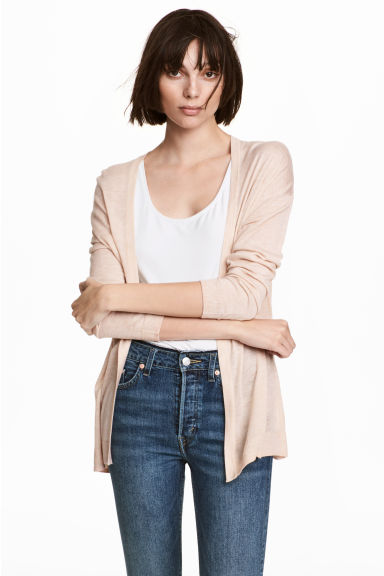 Fine-knit cardigan - Powder marl - Ladies | H&M