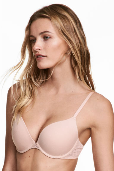 2-pack push-up bras - Powder pink/Dark grey - Ladies | H&M 1