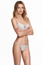 3-pack cotton thong briefs - Grey marl - Ladies | H&M 1