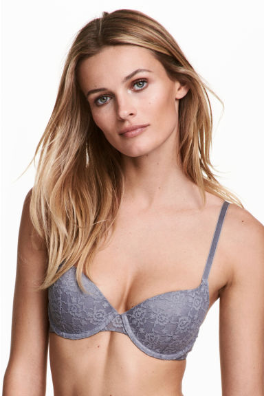 2-pack padded underwired bras - Grey-blue - Ladies | H&M 1