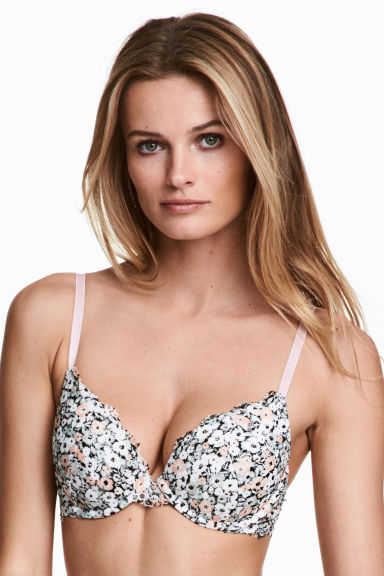 Lace push-up bra - White/Floral - Ladies | H&M CN 1