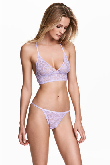 Lace thong briefs - Lilac - Ladies | H&M 1