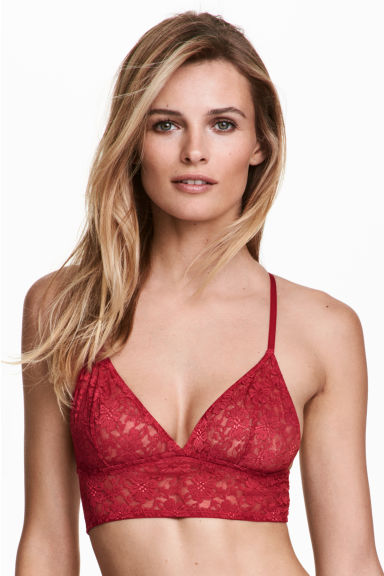 Lace bralette - Raspberry red - Ladies | H&M 1