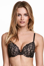 Lace push-up bra - Black/Powder - Ladies | H&M 1