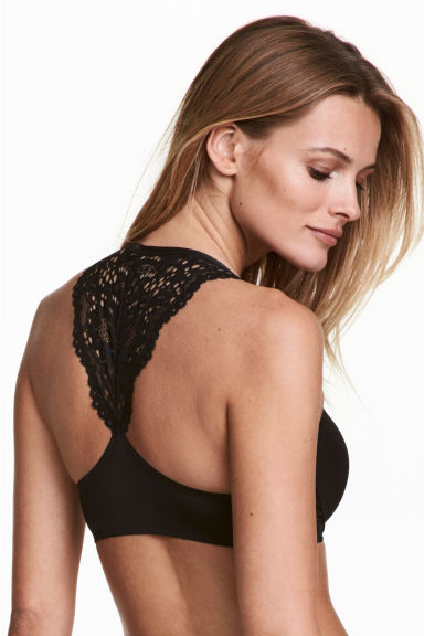 Lace-back super push-up bra - Black -  | H&M