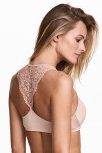 Lace-back super push-up bra - Powder pink - Ladies | H&M 1