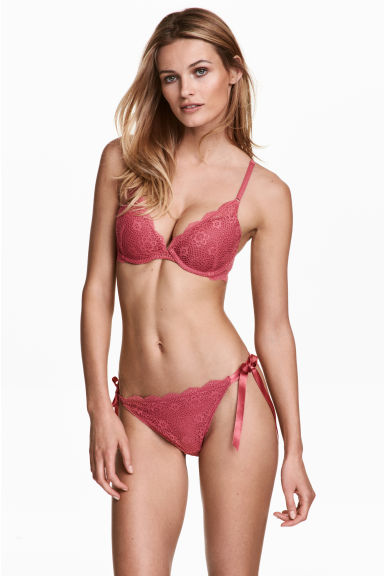 Lace bikini briefs - Dark pink - Ladies | H&M 1