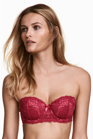 Lace balconette bra - Raspberry red - Ladies | H&M 1