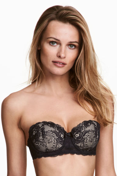 Lace balconette bra - Black/Porcelain - Ladies | H&M