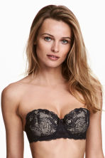 Lace balconette bra - Black/Porcelain - Ladies | H&M CA 1