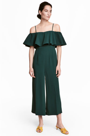 Jumpsuit with a flounce - Dark green -  | H&M