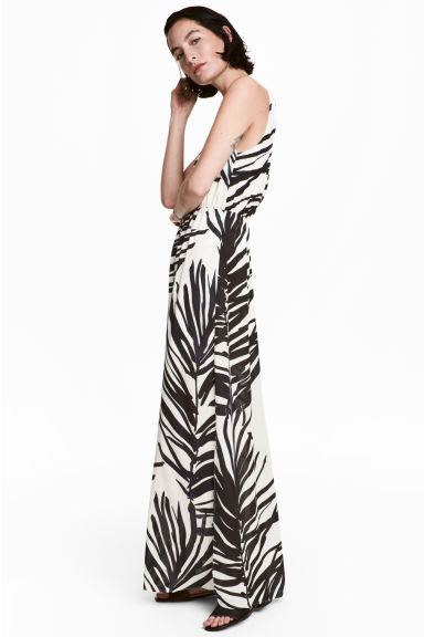 Long V-neck dress - White/Palm leaf - Ladies | H&M 1