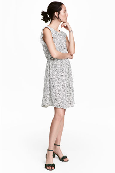 Dress with frilled sleeves - White/Spotted - Ladies | H&M 1