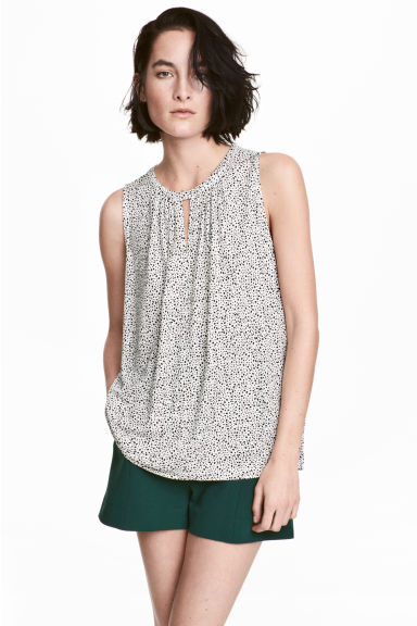 縐紗上衣 - White/Spotted - Ladies | H&M 1