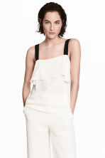Flounced top - White/Black - Ladies | H&M CN 1