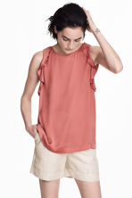 Sleeveless frilled top - Vintage pink - Ladies | H&M CN 1