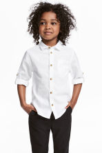 Linen-blend shirt - White - Kids | H&M CN 1
