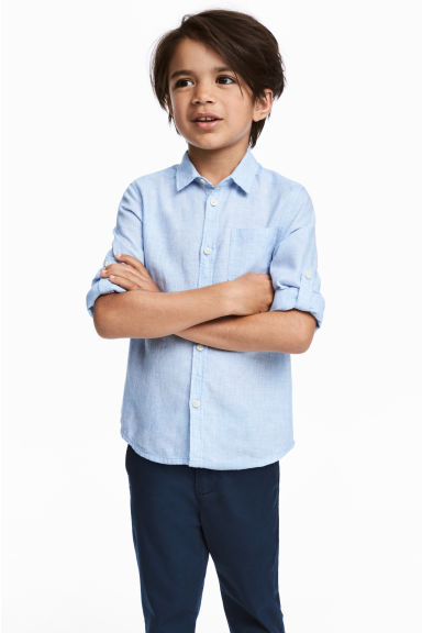 Linen-blend shirt - Light blue/Striped - Kids | H&M 1