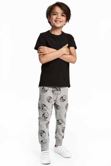 Patterned joggers - Grey/Spiderman - Kids | H&M CN 1