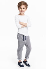 Pull-on cotton trousers - Dark blue/Striped - Kids | H&M CN 1