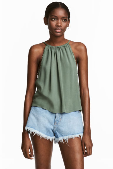 Crinkled top - Khaki green -  | H&M IE