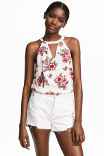 無袖上衣 - White/Floral - Ladies | H&M 1