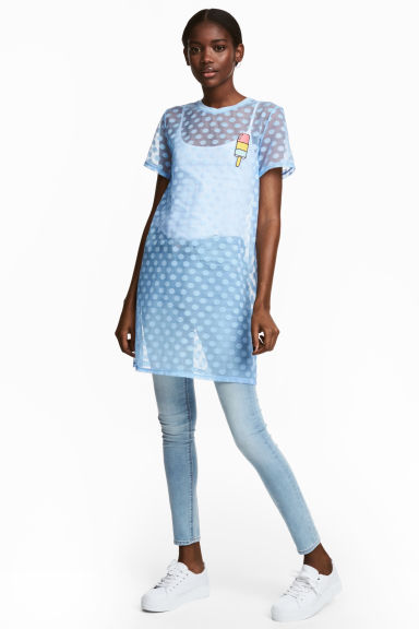 Mesh T-shirt dress - Light blue - Ladies | H&M 1
