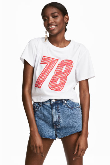 Cropped T-shirt - White - Ladies | H&M 1