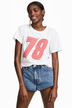 Cropped T-shirt - White - Ladies | H&M CN 1