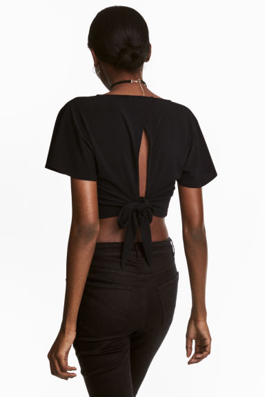 Cropped top - Black - Ladies | H&M CN 1