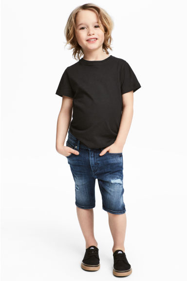 Superstretch denim shorts - Dark denim blue - Kids | H&M CA
