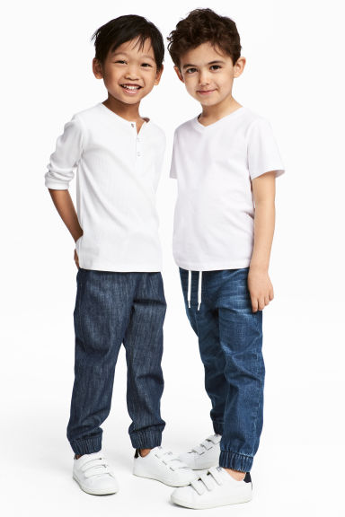 2-pack denim joggers - Denim blue/Dark denim blue - Kids | H&M CN 1