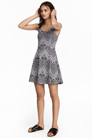 Jersey dress - Black/Patterned - Ladies | H&M CN 1