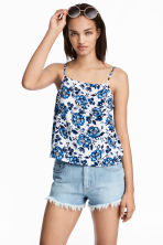 Viscose strappy top - White/Floral - Ladies | H&M CA 1