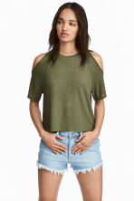 露肩上衣 - Khaki green - Ladies | H&M 1