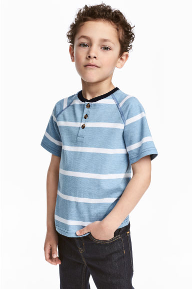 Short-sleeved Henley shirt - Blue/White/Striped - Kids | H&M CN