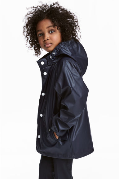 Rain jacket with a hood - Dark blue - Kids | H&M