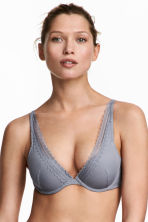 Ribbed microfibre push-up bra - Grey-blue - Ladies | H&M CA 1