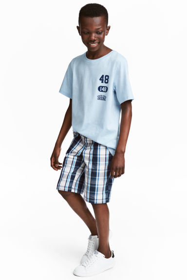 卡其短褲 - Dark blue/Checked - Kids | H&M 1
