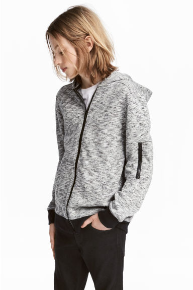 Knitted fleece jacket - Grey marl - Kids | H&M 1